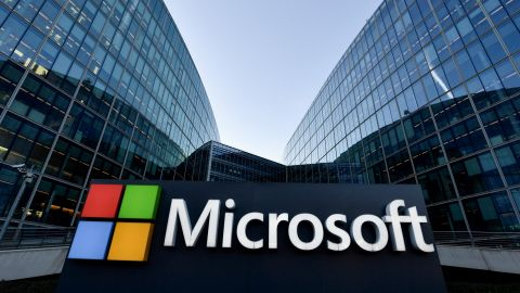 The logo of French headquarters of American multinational technology company Microsoft, is pictured outside on March 6, 2018 in Issy-Les-Moulineaux, a Paris' suburb. / AFP PHOTO / GERARD JULIEN        (Photo credit should read GERARD JULIEN/AFP/Getty Images)