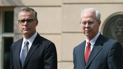 Dana J. Boente (R), U.S. Attorney for the Eastern District of Virginia, and Andrew G. McCabe (L), Assistant Director in Charge of the FBI's Washington Field Office, after a hearing in federal court June 11, 2015 in Alexandria, Virginia. Officials announced that earlier today 17-year-old Virginia high school student Ali Shukri Amin pleaded guilty to helping a classmate travel to Syria in hopes of joining ISIS.  (Photo by Mark Wilson/Getty Images)