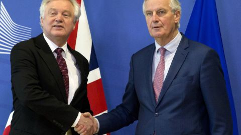 European Union chief Brexit negotiator Michel Barnier, right, and British Secretary of State for Exiting the European Union David Davis.