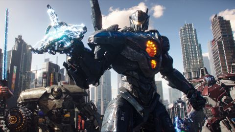 """(L to R, foreground) Jaeger mechs """"Saber Athena,"""" """"Bracer Phoenix,"""" """"Gipsy Avenger"""" and """"Guardian Bravo"""" in """"Pacific Rim Uprising.""""  The globe-spanning conflict between otherworldly monsters of mass destruction and the human-piloted super-machines built to vanquish them was only a prelude to the all-out assault on humanity."""