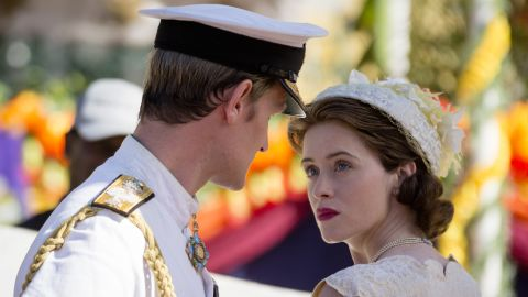 """Matt Smith as Prince Philip and Claire Foy as Queen Elizabeth II in an episode of Netflix's """"The Crown."""""""