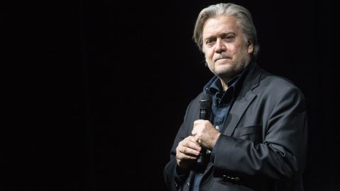 ZURICH, SWITZERLAND - MARCH 06: Steve Bannon, the former chief strategist for U.S. President Donald Trump, speaks at an event hosted by the weekly right-wing Swiss magazine Die Weltwoche on March 6, 2018 in Zurich, Switzerland. Bannon is reportedly on a tour to several European countries that included Italy just before the country's weekend election. (Photo by Adrian Bretscher/Getty Images)
