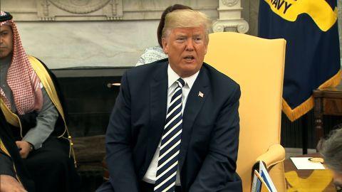 Pres. Trump Meeting Spray with Saudi Prince/TAPE