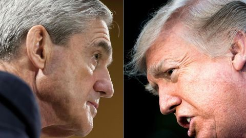 """(COMBO) This combination of pictures created on January 8, 2018 shows files photos of FBI Director Robert Mueller (L) on June 19, 2013, in Washington, DC; and US President Donald Trump on December 15, 2017, in Washington, DC.Trump on march 18, 2018, intensified his attacks on Mueller's Russia investigation as biased against him, but stopped short of targeting the special counsel -- whose ouster lawmakers warned would cross a """"massive red line."""" In an early-morning flurry on Twitter, Trump insisted that Mueller's team of investigators is staffed with """"hardened"""" Democrats biased against him. / AFP PHOTO / SAUL LOEB AND Brendan SmialowskiSAUL LOEB,BRENDAN SMIALOWSKI/AFP/Getty Images"""
