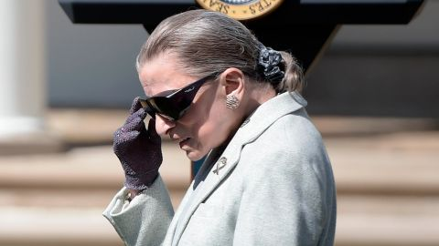 Associate Justice of the US Supreme Court Ruth Bader Ginsburg arrives for Neil Gorsuch's swearing-in ceremony as an associate justice of the US Supreme Court in the Rose Garden of the White House on April 10, 2017 in Washington, DC