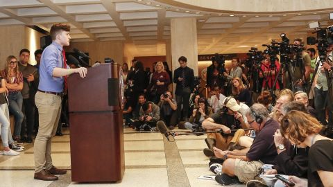TALLAHASSEE, FL - FEBRUARY 21: Kevin Trejos, a student from Marjory Stoneman Douglas High School, speaks at the Florida State Capitol building on February 21, 2018 in Tallahassee, Florida.  In the wake of last week's deadly mass shooting that left 17 people dead, thousands of supporters joined the Parkland students to call for gun reform. (Photo by Don Juan Moore/Getty Images)