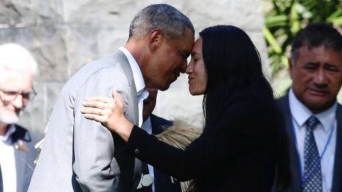 Barack Obama receives a Maori hongi during an event on Friday in Auckland, New Zealand.