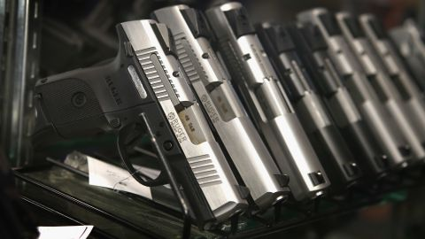 TINLEY PARK, IL - OCTOBER 18:  Pistols are offered for sale at Freddie Bear Sports on October 18, 2012 in Tinley Park, Illinois.  Facing a $267.5 million fiscal 2013 budget gap, Cook County, which includes the City of Chicago and suburbs, has proposed a tax of 5 cents per bullet and $25 on each firearm sold at gun and sporting goods stores in the county. Fred Lutger, who has owned Freddie Bear Sports for 35 years, is concerned with the impact the tax will have on his store which is located about 2 miles inside the Cook County line.  (Photo by Scott Olson/Getty Images)