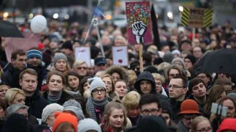 """People gather as part of """"Black Friday"""" in Poznan, Poland."""