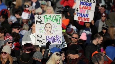 People gather Saturday morning for the March for Our Lives event along Pennsylvania Avenue in Washington.
