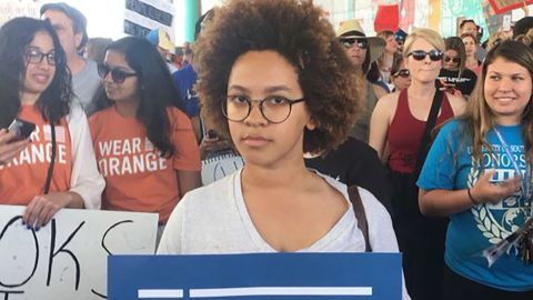 Courtney Wilkerson marches in Tampa, Florida.