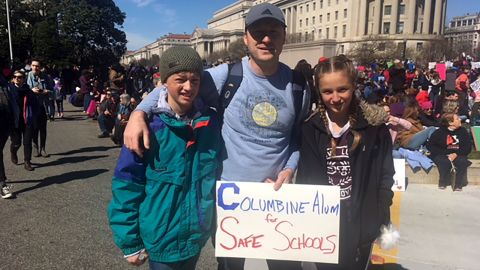 Erik Reynolds (middle) with his son, Josh, and daughter, Sarah, at the march in Washington.