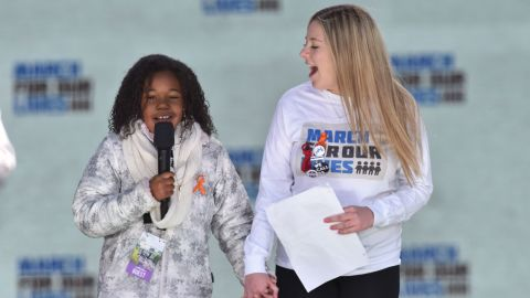 Martin Luther King Jr's granddaughter Yolanda Renee King(L) speaks next to student Jaclyn Corin during the March for Our Lives Rally on March 24.