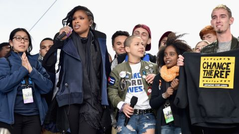 WASHINGTON, DC - MARCH 24:  Edna Chavez, Jennifer Hudson, Emma Gonzalez, Noami Wadler and Sam Zeif pose onstage with students at March For Our Lives on March 24, 2018 in Washington, DC.  (Photo by Kevin Mazur/Getty Images for March For Our Lives)