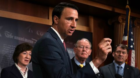 """WASHINGTON, DC - MARCH 21:  U.S. Rep. Ryan Costello (R-PA) (2nd L) speaks as (L-R) Sen. Susan Collins (R-ME), Sen. Lamar Alexander (R-TN) and Sen. Mike Rounds (R-SD) listen during a news conference at the Capitol March 21, 2018 in Washington, DC. Senate Republicans held a news conference to discuss their legislative """"proposal to lower health insurance premiums in the individual health insurance market.""""  (Photo by Alex Wong/Getty Images)"""