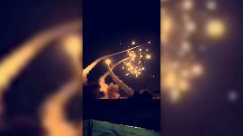 NS Slug: SAUDI ARABIA RIYADH INTERCEPTS MISSILE  Synopsis: A missile was intercepted in Riyadh on Sunday, according to an official with the Ministry of Information of the Kingdom of Saudi Arabia  Video Shows: -missile purportedly being intercepted by Saudi Arabia over Riyadh    Keywords: MIDDLE EAST SAUDI ARABIA MISSILE