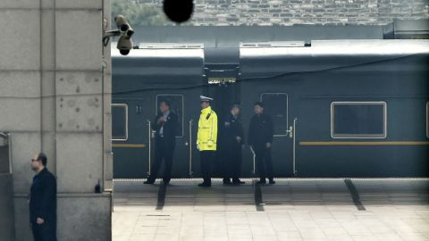 A special train is seen at Beijing Railway Station in Beijing Tuesday, March 27, 2018. Speculation about a visit to Beijing by North Korean leader Kim Jong Un or another high-level Pyongyang official was running high Tuesday amid talk of preparations for a meeting between the North's reclusive leader and President Donald Trump. (Kyodo News via AP)