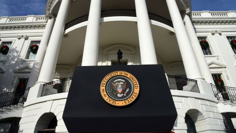 The Presidential Seal is seen on the podium prior to US President Donald Trump speaking about the passage of tax reform legislation on the South Lawn of the White House in Washington, DC, December 20, 2017. Photo by Olivier Douliery/Abaca Press/Sipa via AP Images)