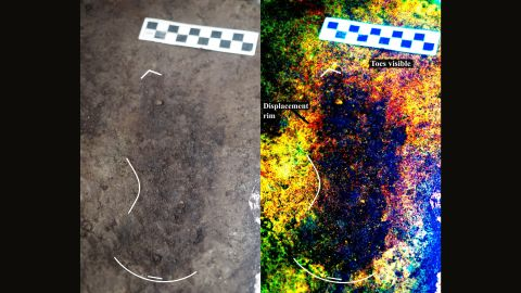 """On the left is a <a href=""""https://edition.cnn.com/2018/03/28/health/ice-age-footprints-canada-study/index.html"""">13,000-year-old footprint</a> as found in the sediment on Calvert Island, off the Canadian Pacific coast. On the right is a digitally enhanced image, showing details of the footprint."""
