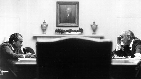 379570 25: President Lyndon Johnson meets with presidential candidate Richard Nixon July 26, 1968 at the White House. (Photo by National Archive/Newsmakers)