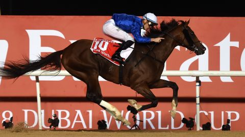 Thunder Snow recorded a stunning victory in Saturday's $10 million Dubai World Cup at the Meydan racecourse.