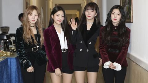 South Korean girl band Red Velvet is seen after their performance in Pyongyang, North Korea, Sunday, April 1, 2018.