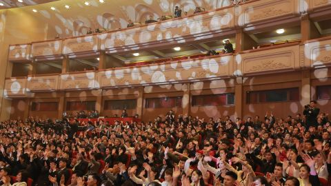 Pyongyang residents watch the performance at the East Pyongyang Grand Theatre in Pyongyang in this image released by KCNA.