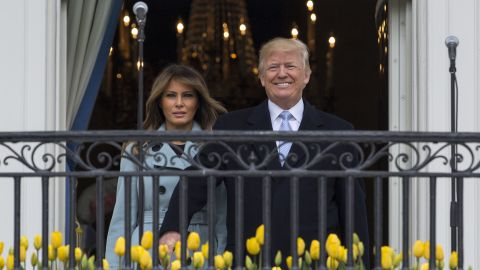 President Donald Trump and first lady Melania Trump arrives on the Truman Balcony of the White House in Washington, Monday, April 2, 2018, for the annual White House Easter Egg Roll. (AP/Carolyn Kaster)