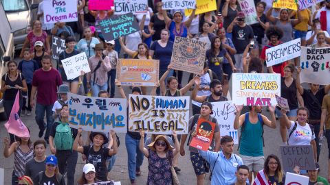 Thousands of immigrants and supporters join the Defend DACA March to oppose the President Trump order to end DACA on September 10, 2017, in Los Angeles, California.