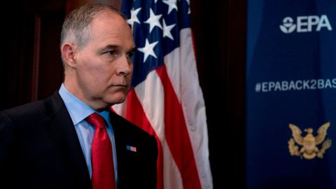 Environmental Protection Agency Administrator Scott Pruitt attends a news conference at the Environmental Protection Agency in Washington, Tuesday, April 3, 2018, on his decision to scrap Obama administration fuel standards. (AP/Andrew Harnik)