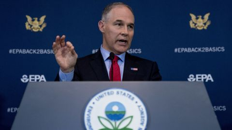 Environmental Protection Agency Administrator Scott Pruitt speaks at a news conference at the Environmental Protection Agency in Washington, Tuesday, April 3, 2018, on his decision to scrap Obama administration fuel standards. (AP/Andrew Harnik)