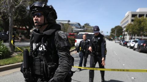 """Police respond to YouTube headquarters in San Bruno, California, after gunshots <a href=""""https://www.cnn.com/2018/04/03/us/youtube-hq-shooting/index.html"""" target=""""_blank"""">were reported there</a> on Tuesday, April 3. At least three people were injured in a shooting, according to San Bruno Police Chief Ed Barberini, and the suspected shooter was found dead. Barberini said the dead woman appeared to take her own life but the investigation was just beginning."""