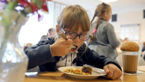 GOMEL REGION, BELARUS - OCTOBER 4, 2017: Pupils have lunch at the Kolno village school ahead of International Teachers' Day celebrated on October 5 in Belarus. Viktor Drachev/TASS (Photo by Viktor Drachev\TASS via Getty Images)