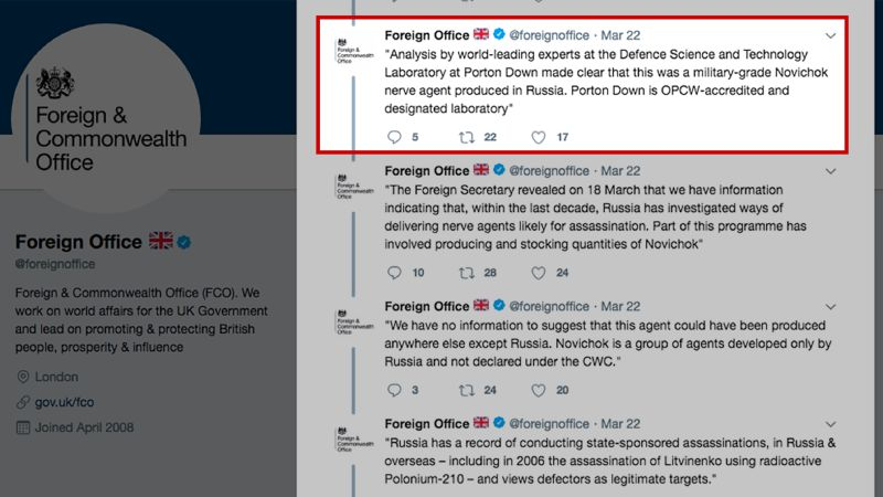 UK government deletes tweet about Russian spy's poisoning | CNN