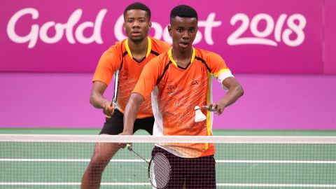 Kalombo Mulenga and Chongo Mulenga of Zambia compete against Aatish Lubah and Christopher Jean Paul of Mauritius during the badminton mixed team group play stage.