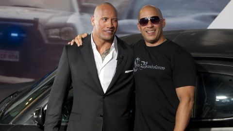 """Dwayne """"The Rock"""" Johnson and Vin Diesel are apparently no longer close. It all kicked off in 2016 when Johnson wrote in a now deleted Instagram posting about male co-stars he called """"Candy a**es."""" Some fans theorized he was talking about Diesel. In 2018 Johnson <a href=""""https://www.rollingstone.com/movies/features/dwayne-johnson-movies-the-rock-rampage-w518693"""" target=""""_blank"""" target=""""_blank"""">confirmed to Rolling Stone magazine</a> that he and Diesel did not film their scenes together in """"The Fate of the Furious."""""""