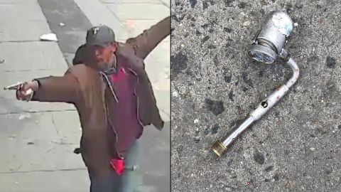 At left, a screen grab from  video of Saheed Vassell, and at right, a close-up of the object in his hand.
