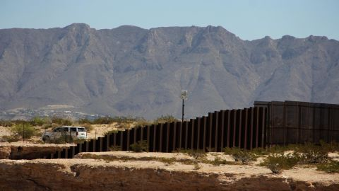 A US border patrol keeps watch near Sunland Park in New Mexico State in the United States as seen from across the US-Mexico border fence in the Anapra valley near Ciudad Juarez, Chihuahua State, Mexico, on April 5, 2018.