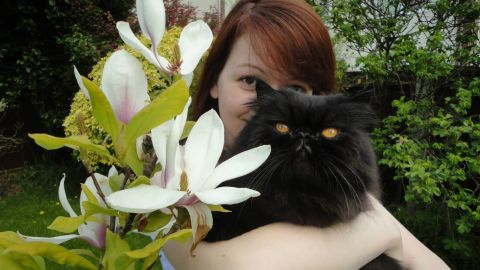 Yulia Skripal pictured with a cat on her Facebook page.