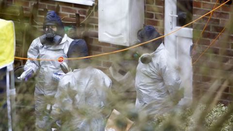 Investigators work in the garden of Sergei Skripal's house in Salisbury on March 22.