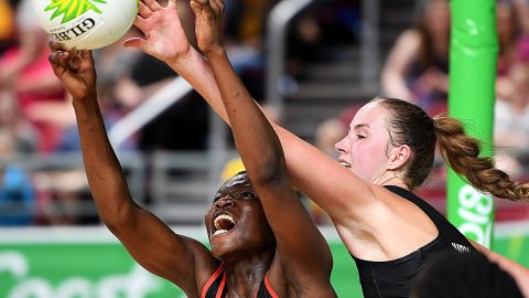 Peace Proscovia vies with Kelly Jury of New Zealand on day one of the Gold Coast 2018 Commonwealth Games.
