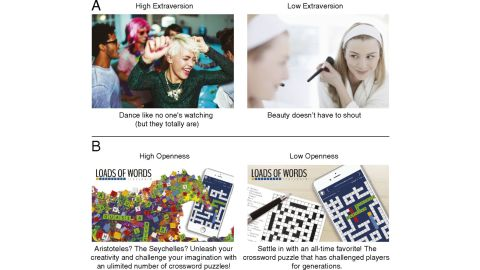 Examples of ads from a 2017 study on psychological targeting.