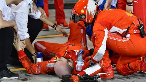 Vettel won for the second time in as many races at the Bahrain Grand Prix. But the Italian team's victory was overshadowed after one of its mechanics suffered a broken leg when he was hit by Kimi Raikkonen's car during a pit stop.