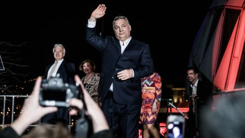 Viktor Orban, Hungary's prime minister, waves while arriving at the Fidesz party headquarters following results for the parliamentary elections in Budapest, Hungary, on Sunday, April 8, 2018.