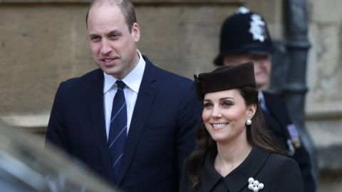 William, Duke of Cambridge, and his wife, Catherine, attend an Easter service in Windsor on April 1.