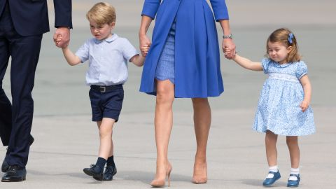 Princess Charlotte and Prince George with their parents in Warsaw, Poland, on 19 July 2017.