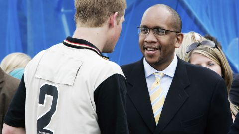 Prince Harry talks with Prince Seeiso of Lesotho at a fundraising polo match for their Sentebale charity in 2006 in Surrey, England.