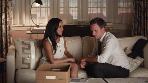 """Markle as Rachel Zane and Patrick J. Adams as Michael Ross in an episode of """"Suits."""""""