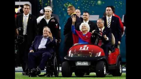 The Bushes are introduced prior to Super Bowl 51 in February 2017.