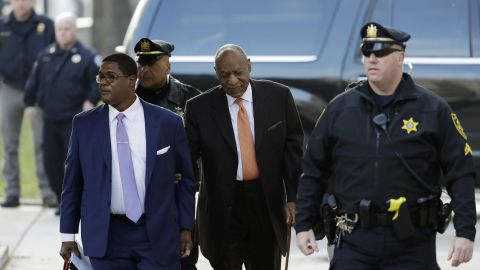 Bill Cosby, center, arrives for his assault trial, Tuesday, April 10, 2018, at the Montgomery County Courthouse in Norristown, Pa.